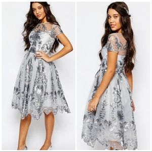 Chi Chi London sequined fit and flare dress 6